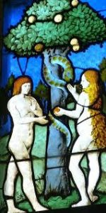 Stained Glass Window showing Adam and Eve